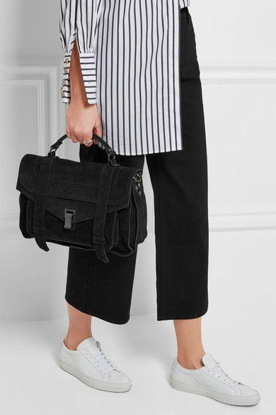 Proenza Schouler - The Ps1 Medium Suede Shoulder Bag - Black - one size