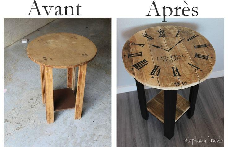 DIY récup palette - Un guéridon relooké motif horloge industrielle