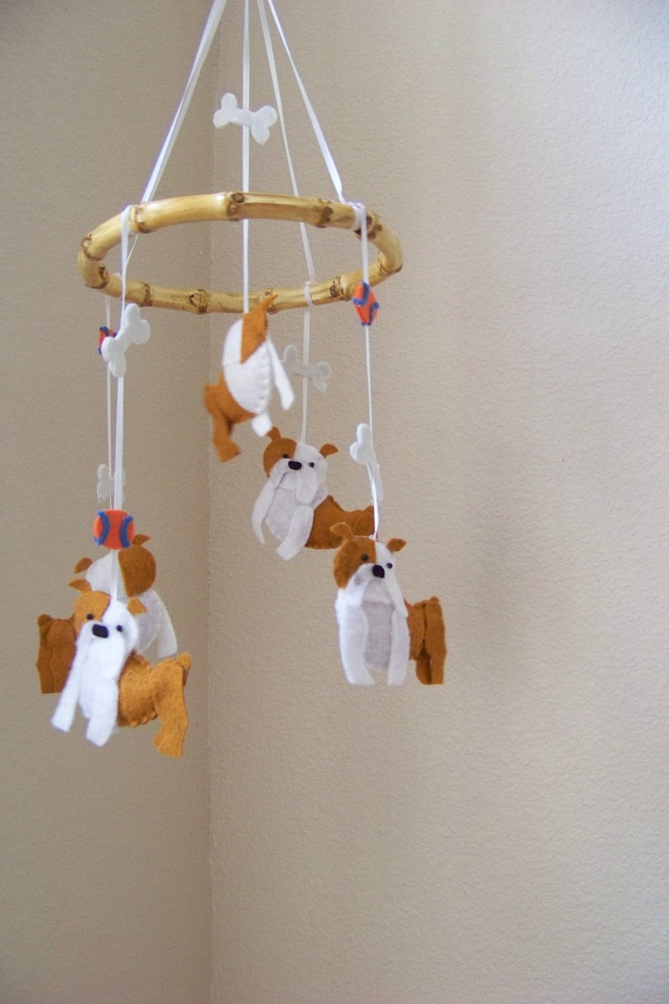 """Baby Mobile - Baby Crib Mobile - Bulldog Mobile - Nursery Baby Room """"Bouncing Bulldogs"""" (You can pick your colors)"""