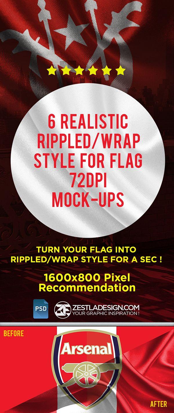 6 poster design photo mockups - Rippled Flag Mockup 1 6 Free