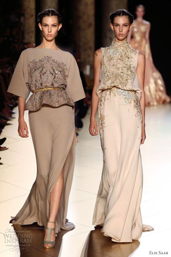elie saab fall 2012 couture collection halter neck gown sleeves, evening wear, haute couture