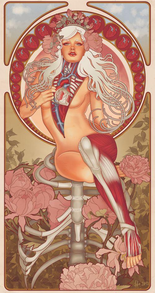 Made in Russia. O designer e ilustrador de Moscow FF0 mantém um tumblr onde publica suas colagens e ilustrações. Além de um belíssimo alfabeto floral. Para os viciados em anatomia, pinups e colagem, um prato cheio.