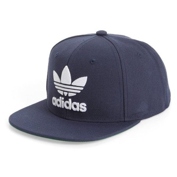 Men's Adidas Trefoil Chain Snapback Baseball Cap ($26) ❤ liked on Polyvore featuring men's fashion, men's accessories, men's hats, dark blue, mens baseball hats, mens chains, mens ball caps, mens hats and mens snapback caps