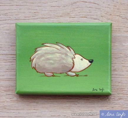 Canvas voor in baby- of kinderkamer - 18x13 cm - egeltje op groene achtergrond. Handgeschilderd!