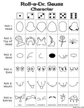 Fun activity for Dr. Seuss' Birthday. Roll then draw each part of your very own Dr. Seuss character!