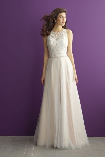 Allure Bridals - Risa. Lace bodice with A-line tulle skirt.