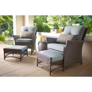 Hampton Bay Blue Hill 5-Piece Woven Patio Chat Set with nesting ottomans at The Home Depot