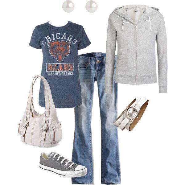 I can do this-ish! make it a Cubs shirt!: Fashion, Style, T Shirt, Casual, Bears Shirt, Chicago Bears, Football Outfit, Football Season, Da Bears