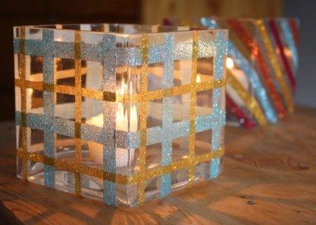 Como hacer porta velas con purpurina