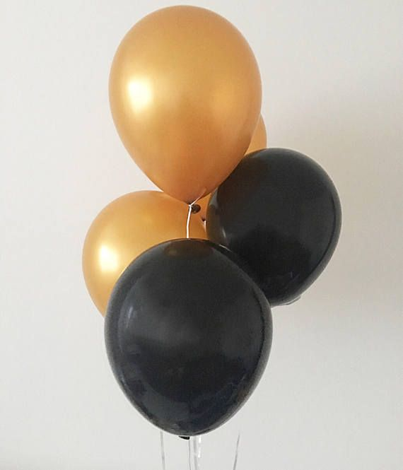 Welcome to Oh How Charming! This listing is for (3) black and (3) 11 latex golden balloons. ~ Balloons are delivered flat and deflated ~ Can be used with ...