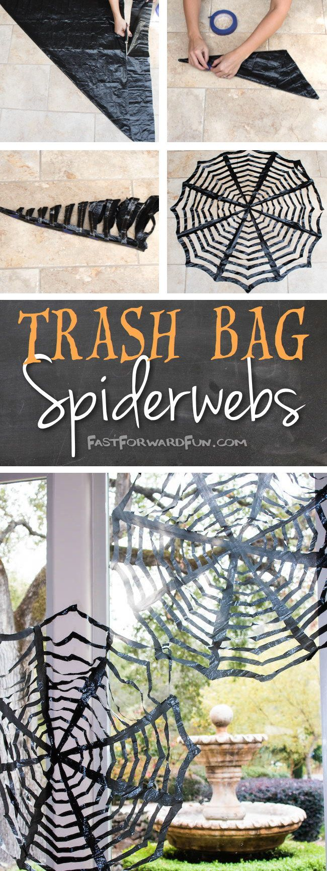 Easy DIY Trash Bag Spiderwebs.