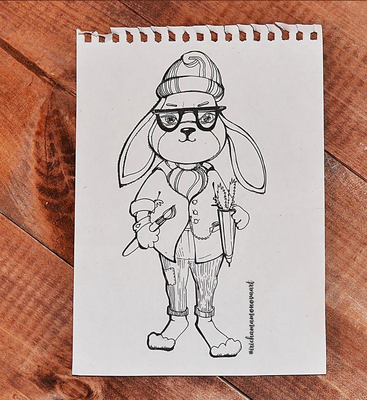 Доброго всем рабочего утра! ☕  В начале недели я решила  параллельно с марафоном #чайвмиредухов #8дней8кружечныхзатей поделиться с вами историей рождения одного милого брэнда Orange Rabbit Box (Коробка Рыжего Кролика) созданного в рамках моего проекта #irishamamonovaart ✏️  Создавался он с нуля от первого рисунка на бумаге моими любимыми #фаберкастелл капиллярными ручками, до обработки проекта в графических редакторах.  Герой получился немного хипстерский, немного романтичный.  Что точно…