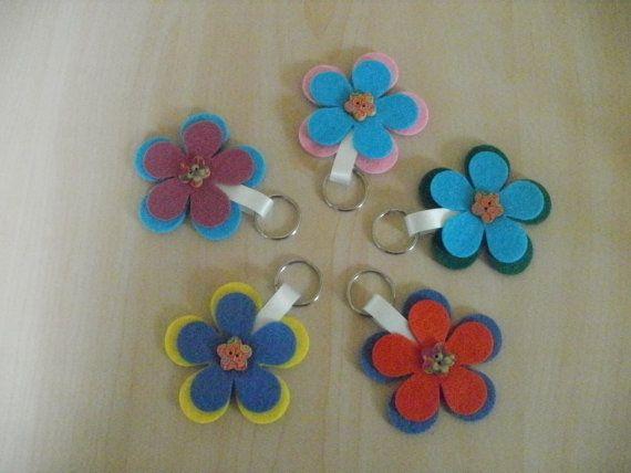 Bright flower shaped felt keyring. by LouiseHunterHandmade on Etsy, £4.50
