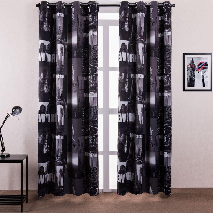 Напечатаны полиэстер глубокий черный евро-американском город стиль затемненные шторы для постельное белье в номерах бесплатная доставка ( один панель )