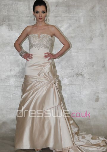 2015+Unique+Strapless+Ruffled+And+Pleated+Beaded+Appliques+Empire+Waist+With+Bowknot+Satin+Sweep+Train+Column+Cheap+Wedding+Dress
