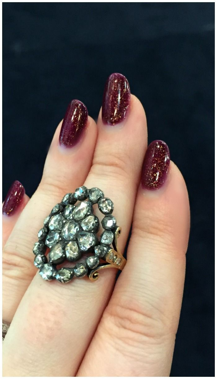 A remarkable ring made from an antique Georgian era diamond cluster brooch. At Keyamour.