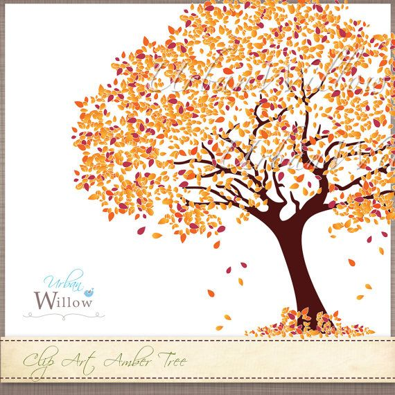 AMBER TREE Extra foliage  Clip art image in 3 by urbanwillow, $5.95