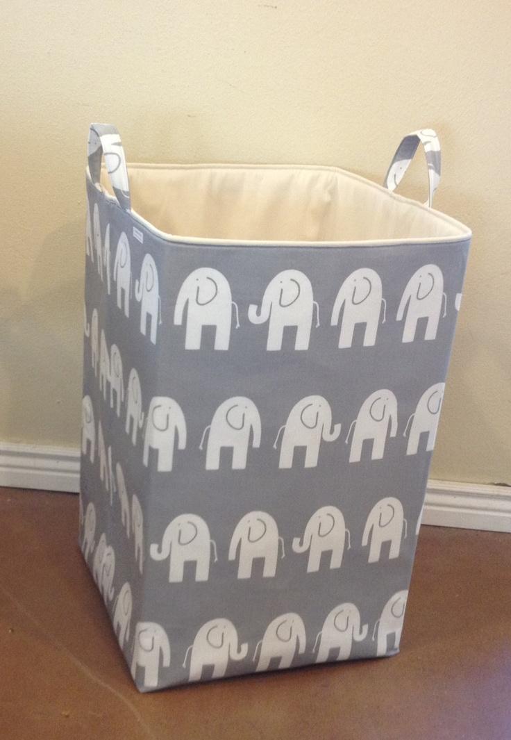"""XXL Hamper Toy Bin 13""""x13""""x20"""" Laundry Basket Fabric Storage Bin Organizer  White Elephant /Grey with Cream Lining"""