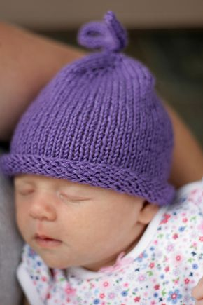 """A """"beginner"""" Free pattern hat. Perfect for a very quick gift knit. Could make several colors as one gift."""
