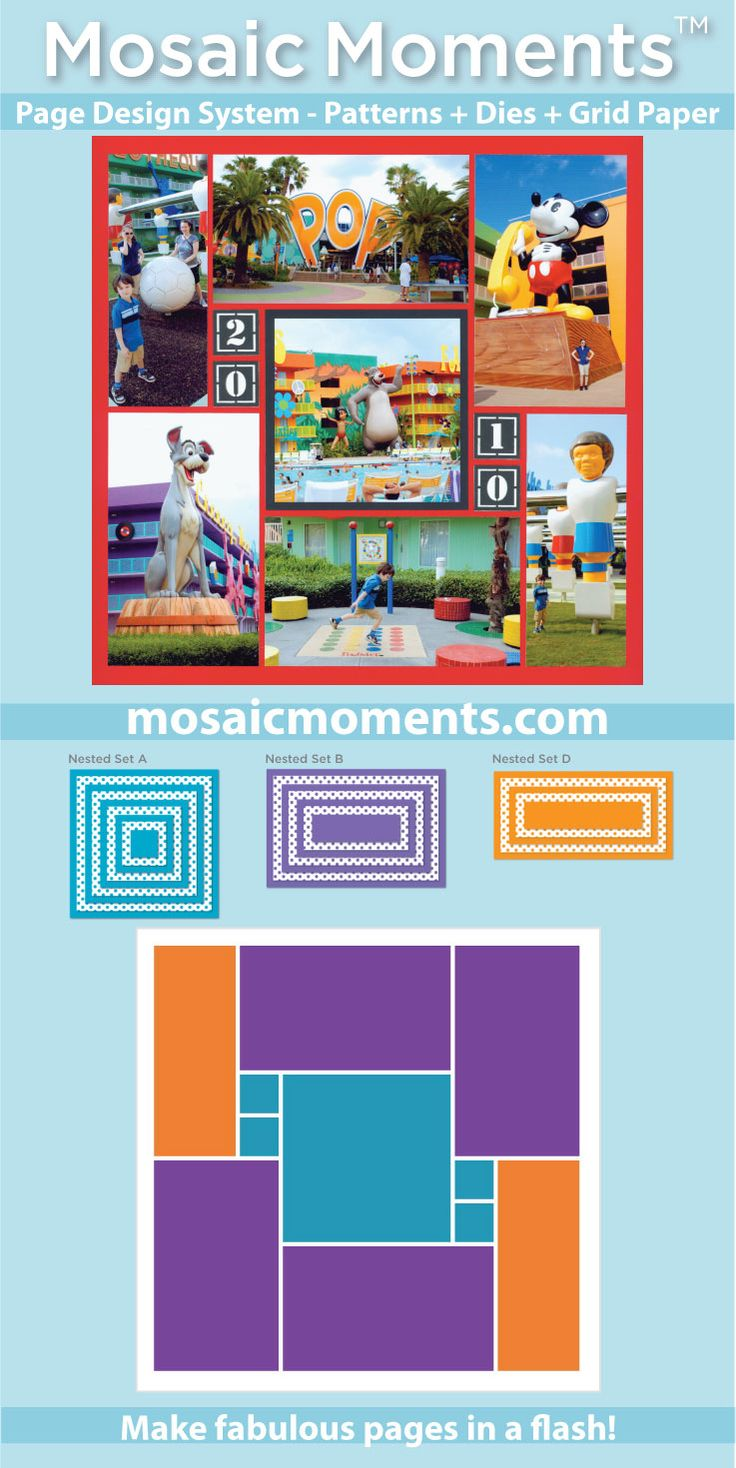 For over a decade, Mosaic Moments™ has been a great page layout system for creating beautiful scrapbook pages and photo collages. With the introduction of Mosaic Moments™ dies it has also become the fastest and most flexible scrapbook design system available.