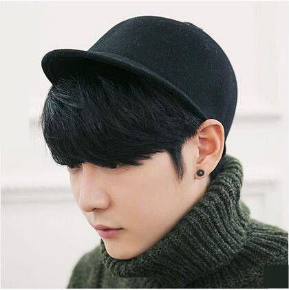 Plain black Equestrian cap for men wool horse riding hats autumn wear