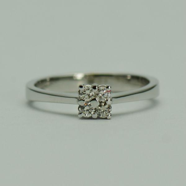 Inel din 14k aur alb cu diamante