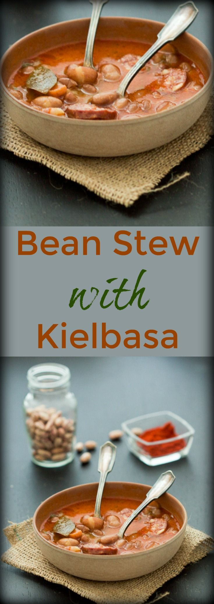 Balkan bean stew with kielbasa: a perfect hearty stew for these unstable spring days.