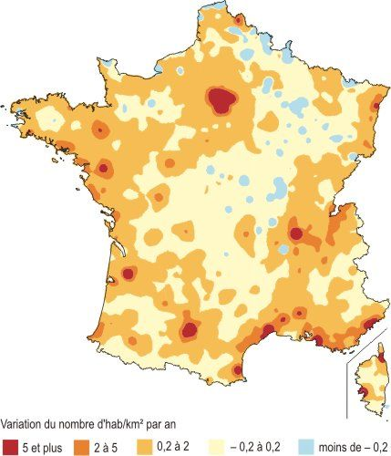 Variation de la densité de population en 2006