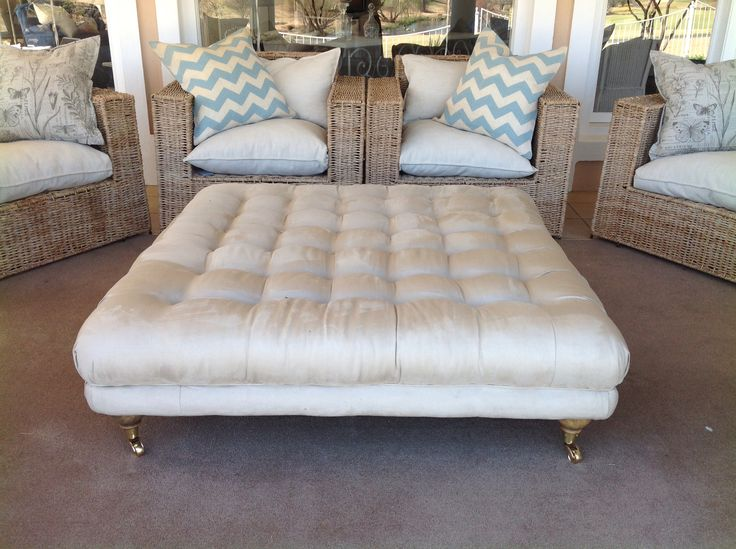 Outdoor or indoor fully upholstered ottoman