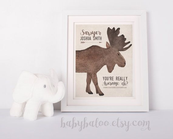 Canadiana Baby Boy Nursery Art Moose Nursery Art Personalize  by babybaloo - woodland creatures #digitalart #printableart