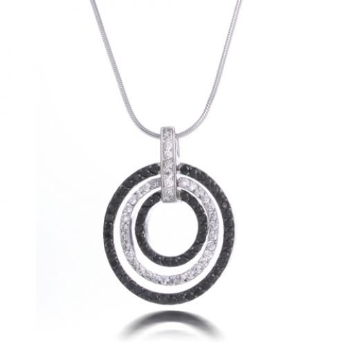 Modern Clear and Onyx Triple Circle Diamond CZ Pendant