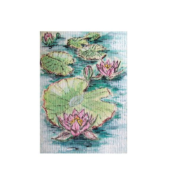 "ACEO ""Water Lilies""- original artwork  Watercolour, acrylic and indian ink on paper."