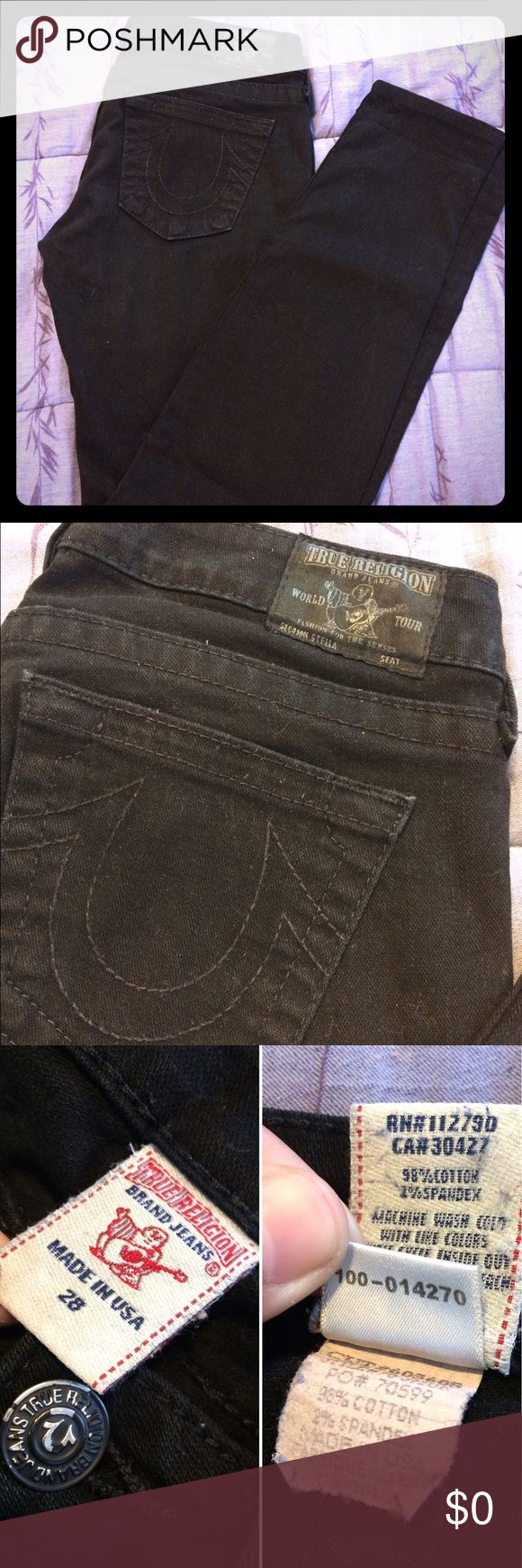 🔥😱SALE🔥 True Religion Blk Stella Skinny Jeans Authentic True Religion Brand Jeans 👖 In great condition! 💕 Just lint rolled and washed! 🛁 Says Section Stella on the back patch 😊 Great stretch and comfort. Please feel free to ask any questions 😘✨💋 True Religion Jeans Skinny