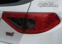 2008-2014 Subaru WRX & STI Hatchback Red Tail Light Tint Overlays w/ Reverse & Blinker Cut Outs + Smoke Inserts