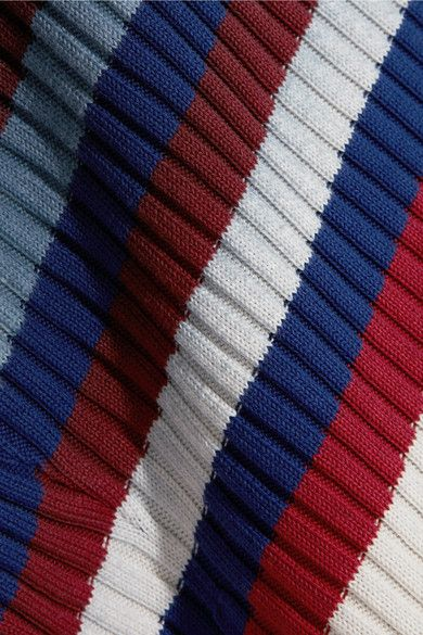 Maison Margiela - Striped Ribbed Cotton Cardigan - Red
