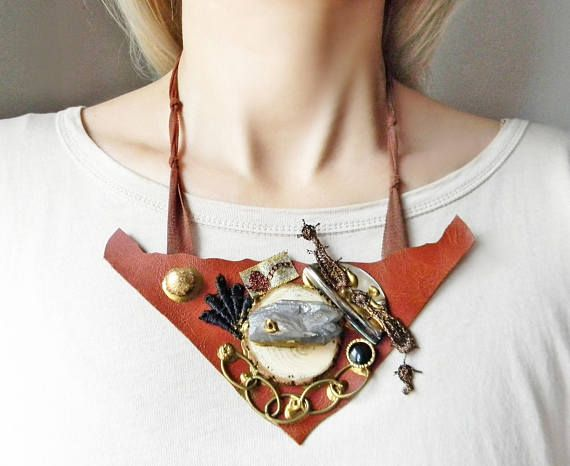 Steampunk couture leather bib necklace in brown with raw