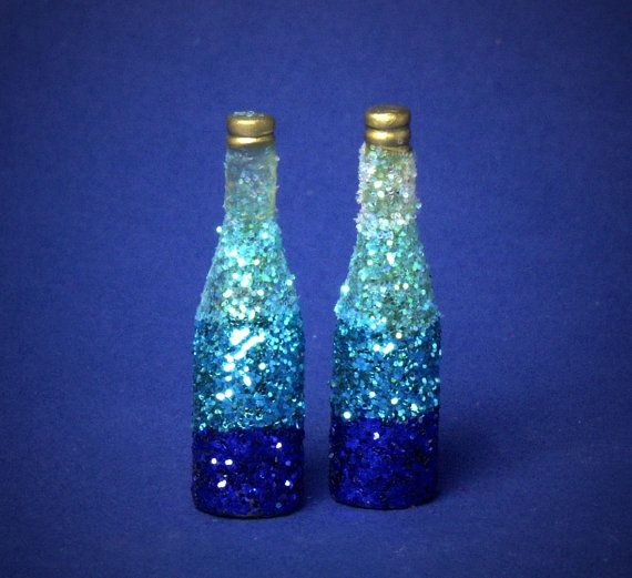 Decorative Miniature Bottle Shades of Turquoise Blue by DinkyWorld