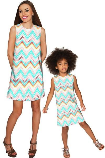 Chevron Please Adele Shift Floral Mommy and Me Dresses - Pineapple - Mommy and Me Clothing