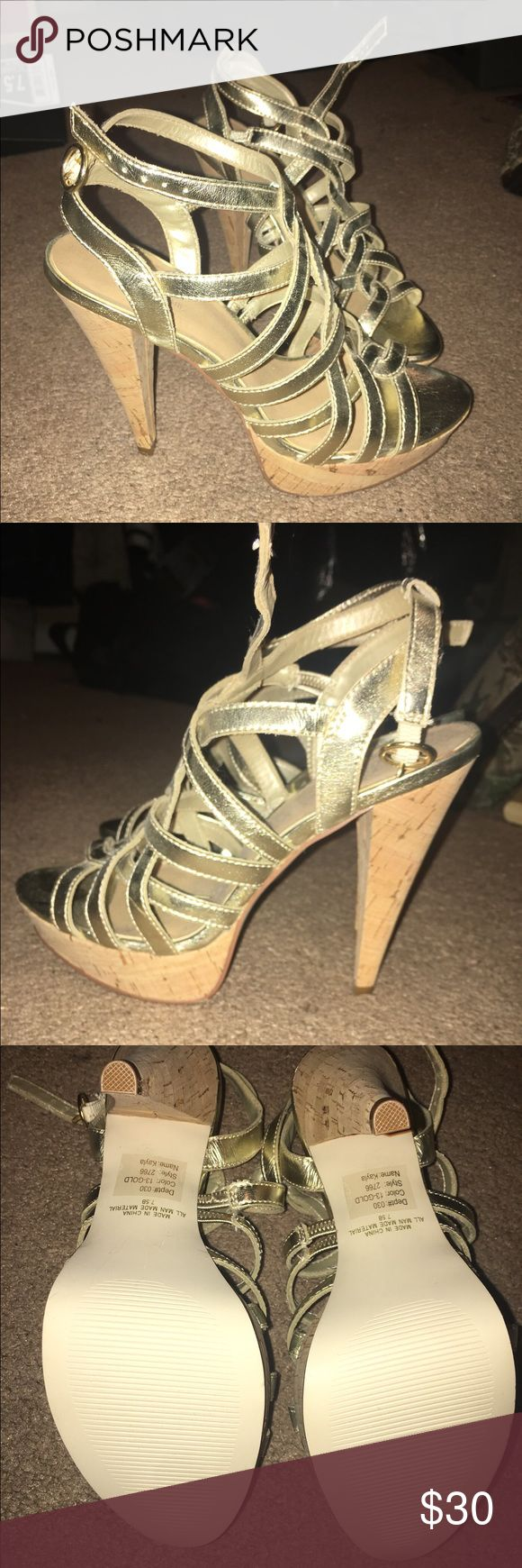 Women's gold high heel sandals 7.5 New never worn women's heels size 7.5. No box. Comes from a smoke free home. Wild Pair Shoes Heels