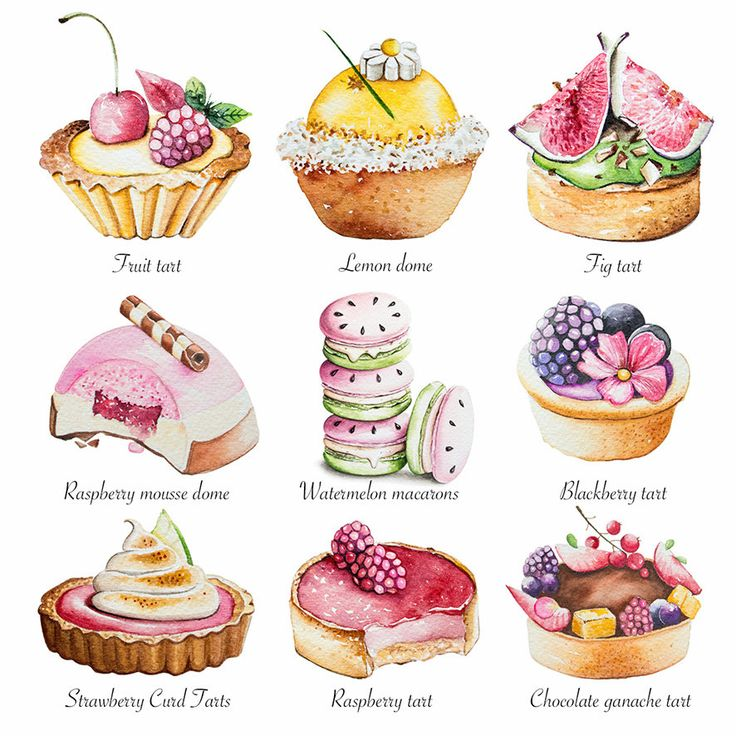 Watercolor Cake Clip Art : 36 best images about food drawing on Pinterest Bento ...