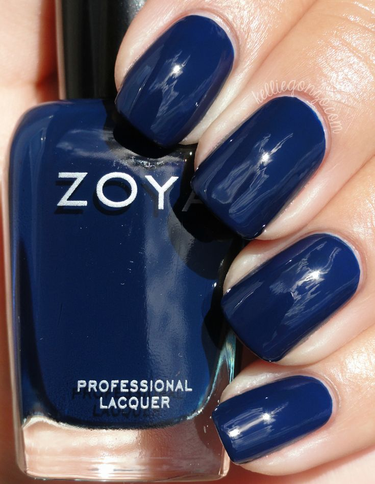 Zoya - Ryan // kelliegonzo.com      Ryan, another deep fall blue. Dark enough that in low lights it might appear to be black, but in bright lights it's quite a nice true navy.