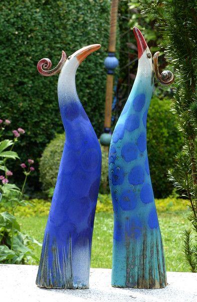 """Keramik - PARADIESVOGEL """"WICHTIGTUER"""" türkis-blau - ein Designerstück von Brigitte_Peglow bei DaWanda"""