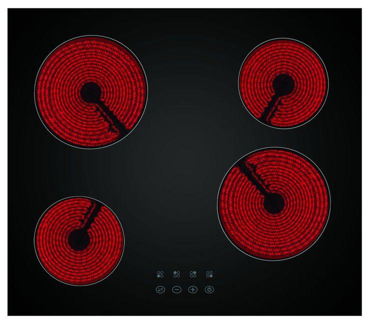 SIMFER STEKLOKERAMIČNA PLOŠČA 6040 DECB. Klasična steklokeramična plošča z 4 kuhališči.   Kuhališče: 4 hi-light kuhalne plošče, 2 kuhališči ø 14 cm (1,2 KW), 2 kuhališči ø 18 cm, senzorsko upravljanje – touch control, pokazatelj preostanka toplote, otroška varnostna ključavnica, prikazovalnik vklopa/izklopa, črna barva, širina 60 cm.