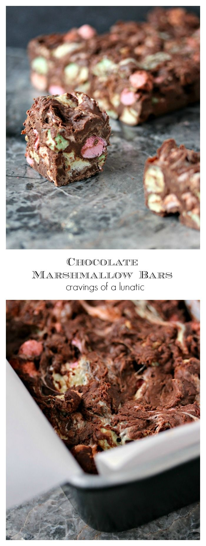 Chocolate Marshmallow Bars- Chocolate marshmallow bars are homemade candy bars for the true marshmallow lover. Perfect for holidays, or any day of the week! Get the recipe at cravingsofalunatic.com