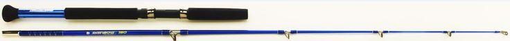 Cañas de pescar enchufables de embarcación, Es utilizable para curri o jigging. La caña de pesca RAINBOW es perfecta para pescar al lance en agua dulce desde piragua, pato o barco utilizando pesados señuelos para capturar el siluro o el lucio.