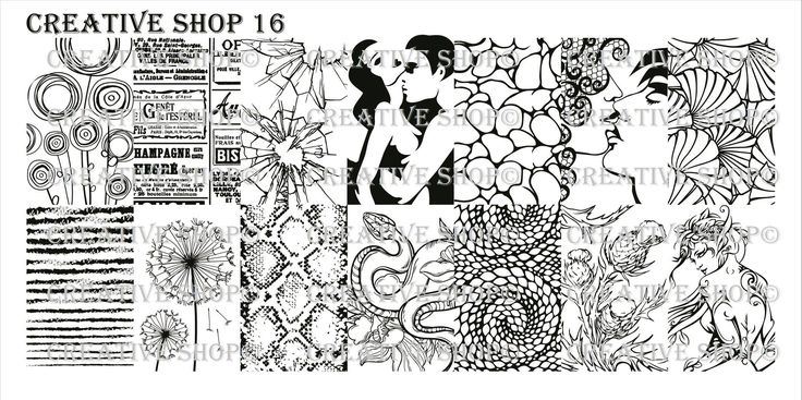 Creative Shop Nail Art Stamping Plate 16 flower, label, window crash, couple kiss, texture, dandelion, snake skin, snake, fairy