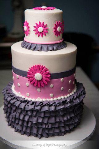 Pink & Grey Gerbera Daisy Baby Shower Cake