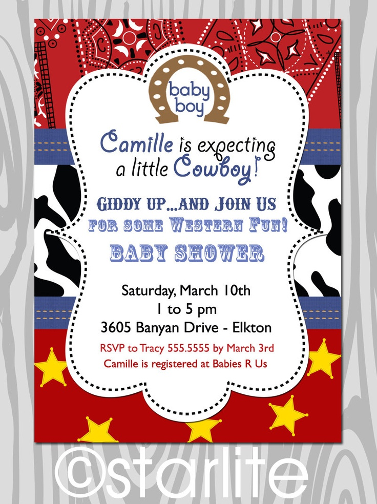 Western theme -  Baby Shower invitation - Red Bandana, Cowboy - baby boy shower invitation - PRINTABLE. $15.00, via Etsy.