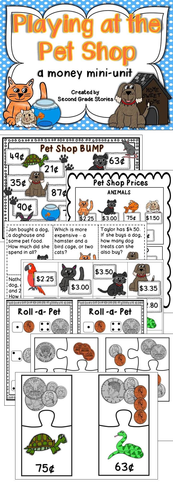 Fun games and activities to review money skills with a pet theme. Roll the dice, use play money, problem solving and more.