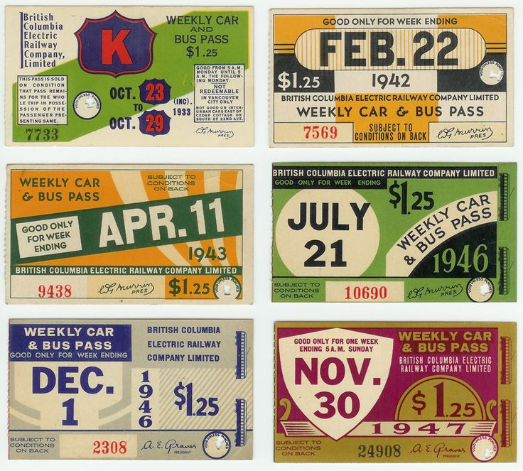 BC Electric Weekly Transit Passes from 1933, 1942, 1943, 1946, and 1947.